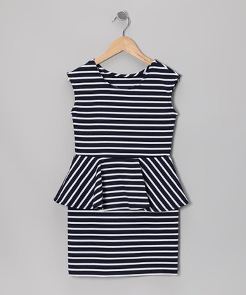 Navy & White Stripe Peplum Dress - Girls