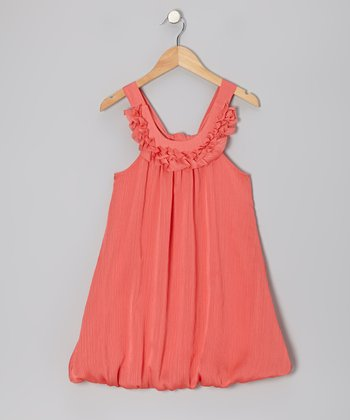 Coral Chiffon Ruffle Yoke Dress - Girls
