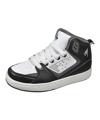 White & Black Hi-Top Sneaker