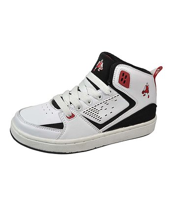 White & Red Hi-Top Sneaker