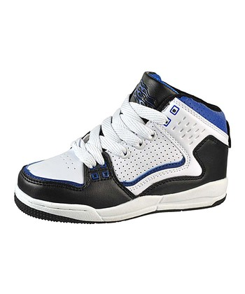 White & Royal Hi-Top Sneaker