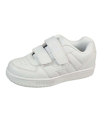 White Embossed Stripe Hook & Loop Sneaker