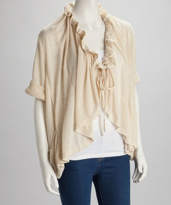 Beige Ruched Cardigan
