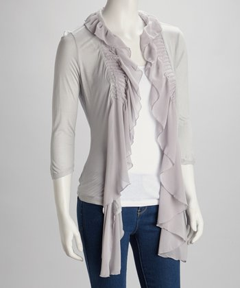 Gray Ruffle Pleated Open Cardigan