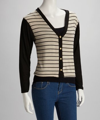 Tan & Black Stripe Cardigan