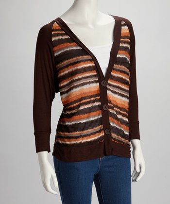 Brown & Orange Stripe Cardigan