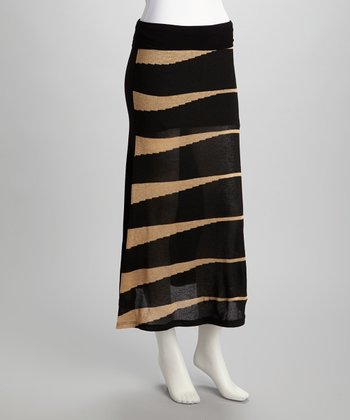 Black & Beige Maxi Skirt