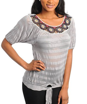 Gray Stripe Crocheted Short-Sleeve Top - Women