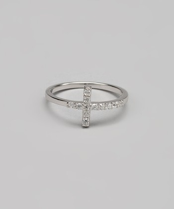 Sterling Silver & Cubic Zirconia Cross Ring