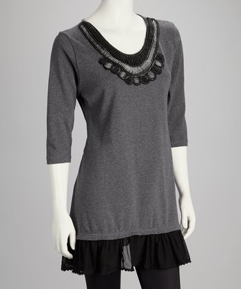 Gray Beaded Ruffle Top