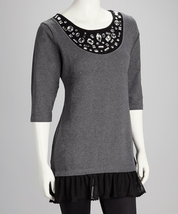 Gray Embellished Ruffle Top