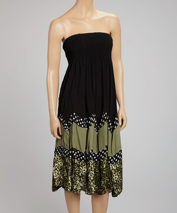 Black & Olive Polka Dot Shirred Strapless Dress
