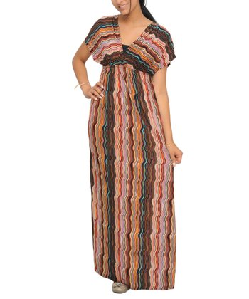 Red & Brown Squiggle Stripe Maxi Dress