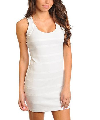 White Stripe Sleeveless Dress
