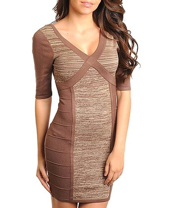 Brown Stripe Crisscross Dress