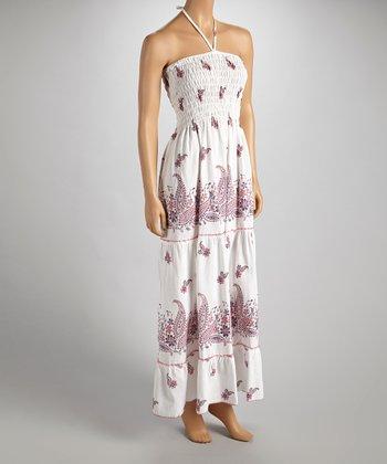 Purple & Red Paisley Halter Maxi Dress - Women
