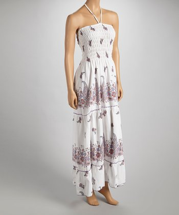 Pink & Purple Paisley Halter Maxi Dress - Women