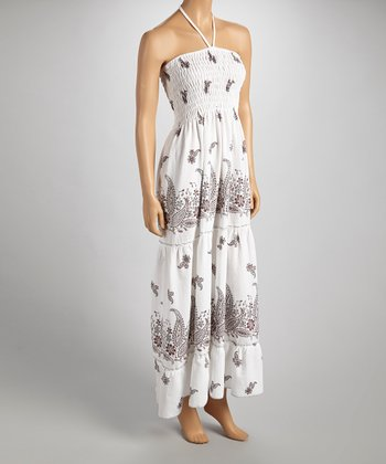 Burgundy & Gray Paisley Halter Maxi Dress - Women