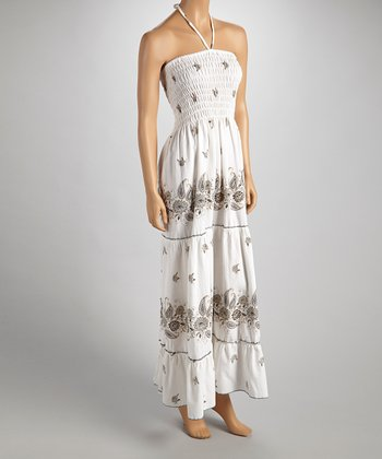Brown & Gray Paisley Halter Maxi Dress - Women
