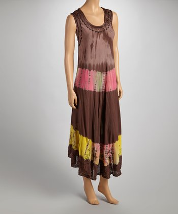 Brown & Pink Tie-Dye Sleeveless Dress - Women