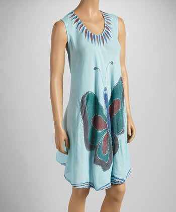 Light Blue Butterfly Sleeveless Dress - Women