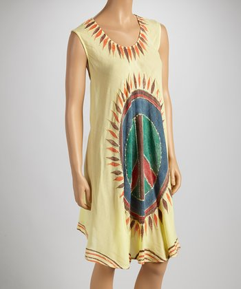 Yellow Peace Sign Sleeveless Dress - Women