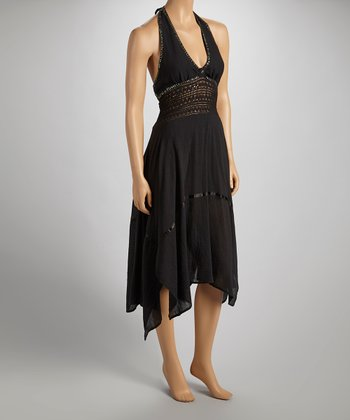 Black Sequin Halter Dress - Women