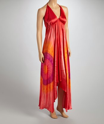 Red & Orange Circles Halter Dress - Women