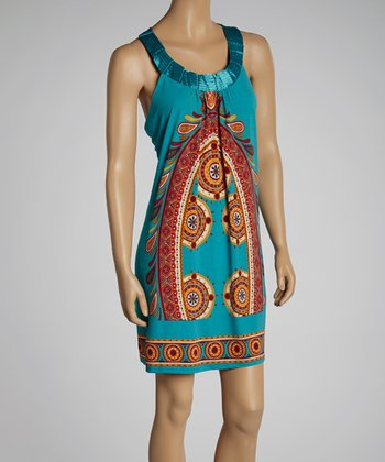 Turquoise & Orange Yoke Dress - Women