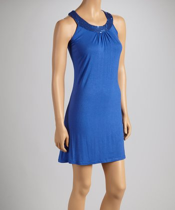 Royal Blue Sequin Yoke Dress - Women