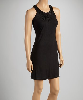 Black Sequin Yoke Dress - Women