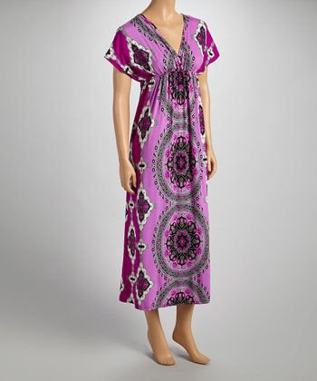 Purple Surplice Cape-Sleeve Maxi Dress - Women