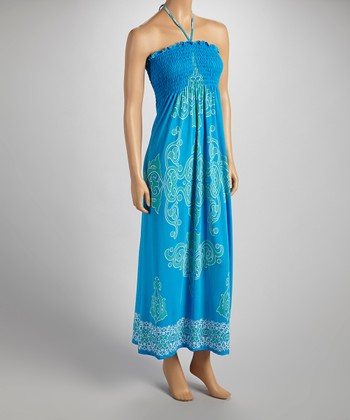 Blue & Green Arabesque Halter Maxi Dress - Women