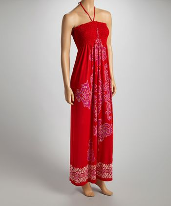 Red & Fuchsia Arabesque Halter Maxi Dress - Women