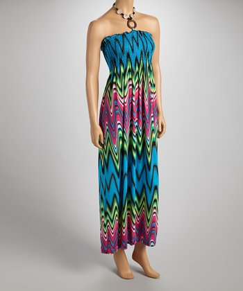 Green & Fuchsia Wavy Halter Maxi Dress - Women