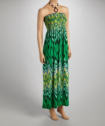 Green & Yellow Wavy Halter Maxi Dress - Women