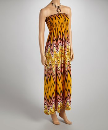 Yellow & Brown Wavy Halter Maxi Dress - Women