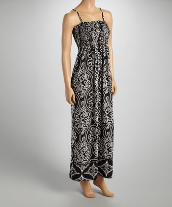 Black & White Shirred Sleeveless Maxi Dress - Women