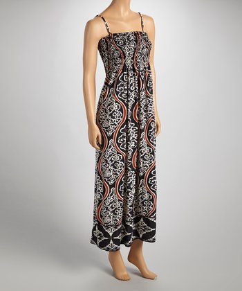 Black & Brown Shirred Sleeveless Maxi Dress - Women