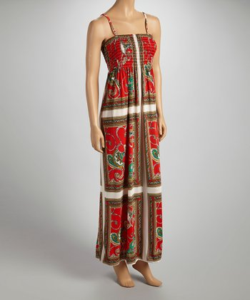 Red & White Patchwork Shirred Sleeveless Maxi Dress - Women