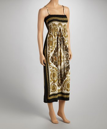 Black Arabesque Sleeveless Maxi Dress - Women