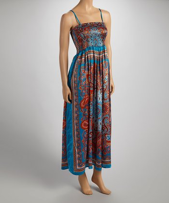 Teal & Brown Silky Sleeveless Dress  - Women