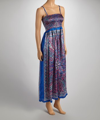 Royal Blue & Purple Silky Sleeveless Dress - Women