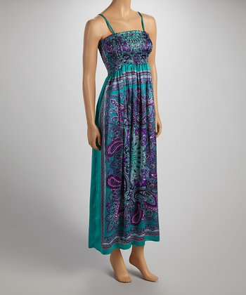 Jade & Purple Silky Sleeveless Dress - Women