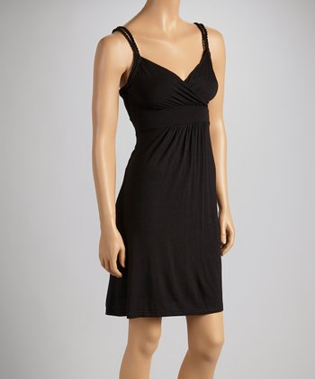 Black Sleeveless Surplice Dress - Women