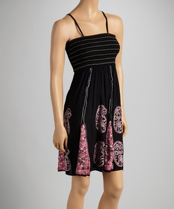 Black & Pink Paisley Sleeveless Dress - Women