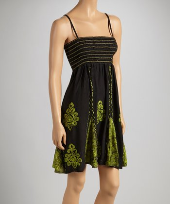 Black & Green Abstract Sleeveless Dress - Women