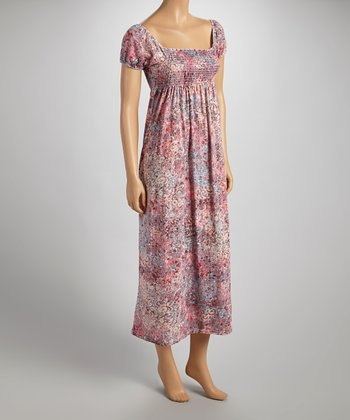 Pink & Taupe Cap-Sleeve Maxi Dress - Women