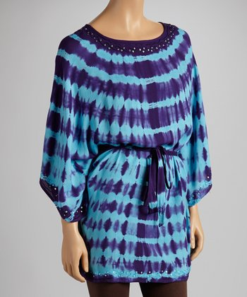 Purple & Light Blue Tie-Dye Cape-Sleeve Tunic - Women