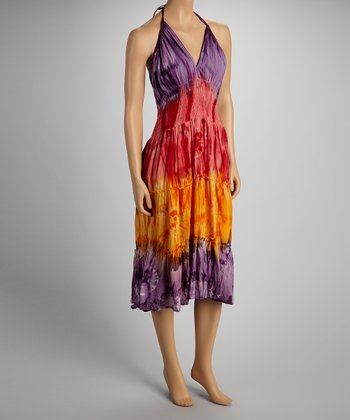 Purple & Red Tiered Dress - Women